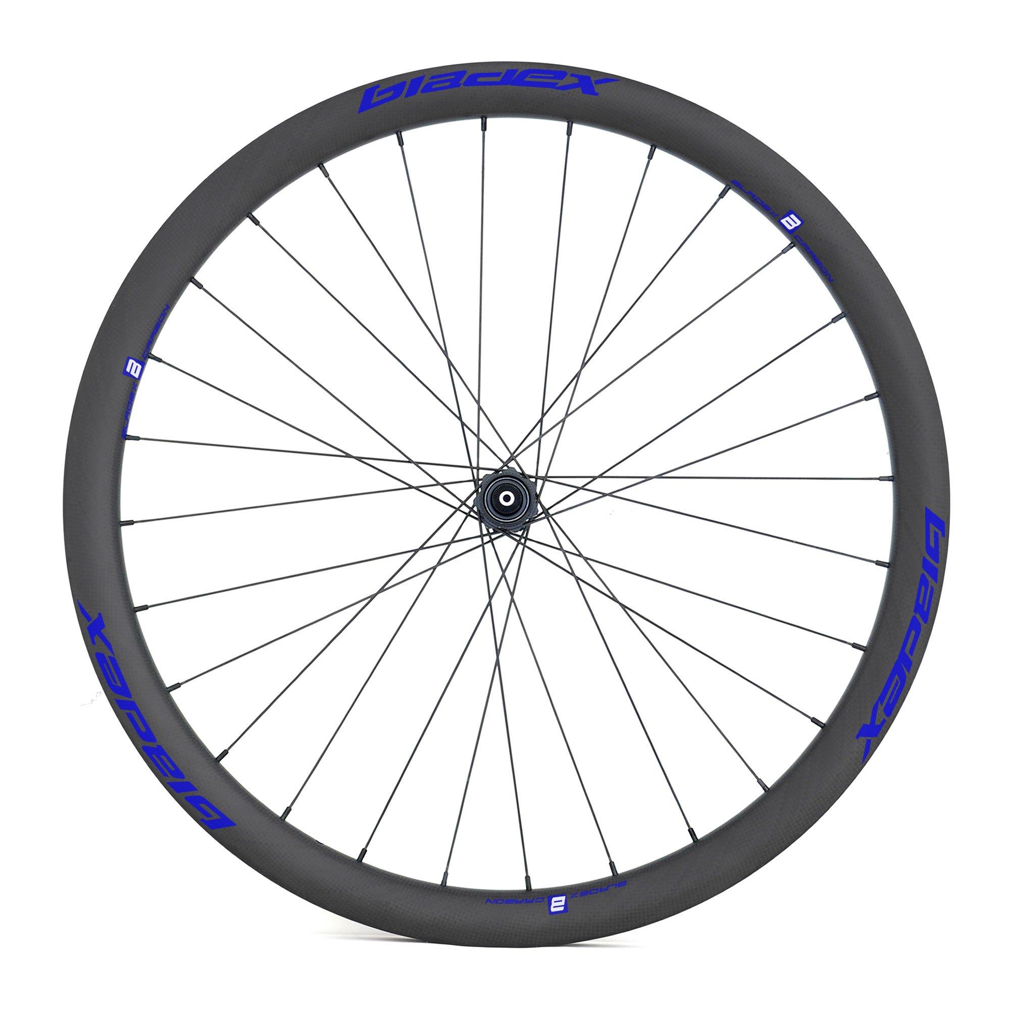 BladeX ULTIAMTE ROAD DB38 Disc Brake Road Bike Wheelset Front With Blue Logo
